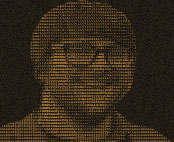 Tiny 1-bit line scan image of Dave Rupert; Dave wears glasses and smiles widely at the camera.